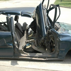 wrecked car whose owner is using toledo car accident attorneys to build a case