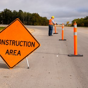 construction area sign from the viewpoint of a toledo motor vehicle accident attorney